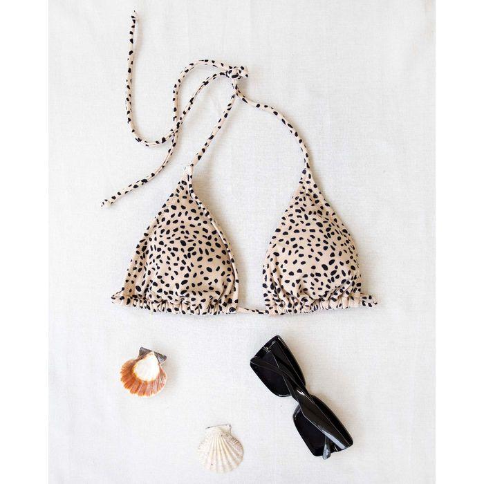 Bikini top τριγωνάκι με διχρωμία BP2193 S - Μπεζ