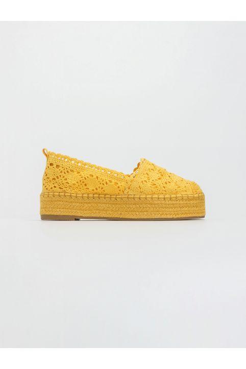 Flatform πλεκτές εσπαντρίγιες με σχοίνινη σόλα - Κίτρινο