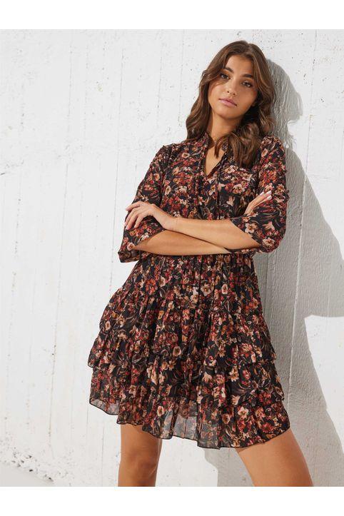 Φόρεμα φλοράλ με δέσιμο στο μπούστο - Κεραμιδί