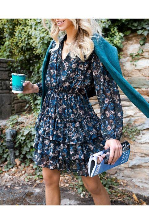 Φόρεμα φλοράλ με δέσιμο στο μπούστο - Μπλε