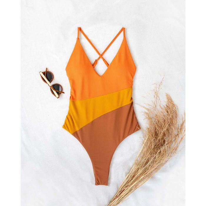 One piece μαγιό σε συνδυασμούς χρωμάτων - Πορτοκαλί