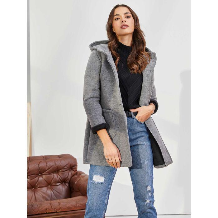 Παλτό με κουκούλα - Γκρι