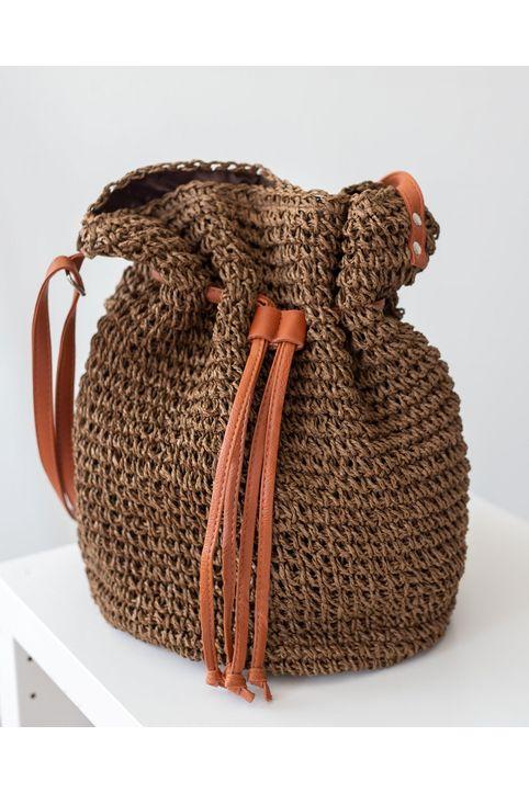 Ψάθινη τσάντα σε σχήμα πουγκί - Καφέ