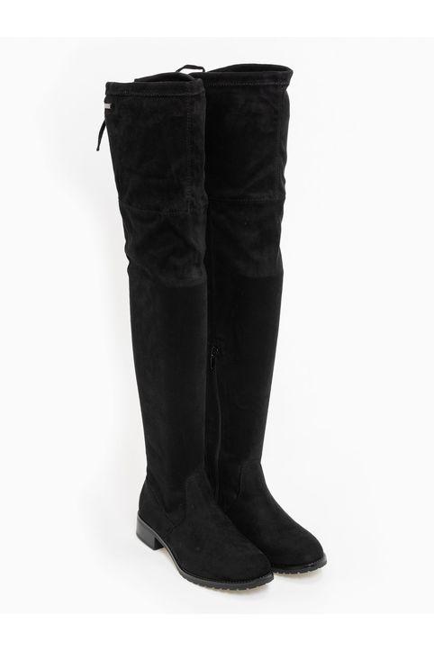 Suede ίσιες μπότες πάνω από το γόνατο - Μαύρο