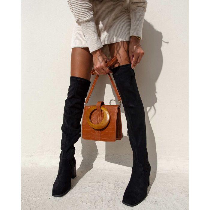 Suede over the knee μπότες με τακούνι - Μαύρο