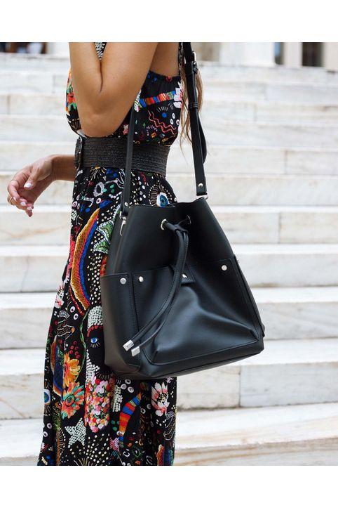 Χιαστί τσάντα πουγκί - Μαύρο