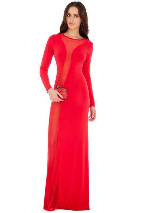 9069 GB Μάξι φόρεμα με διαφάνεια-Κοκκινο
