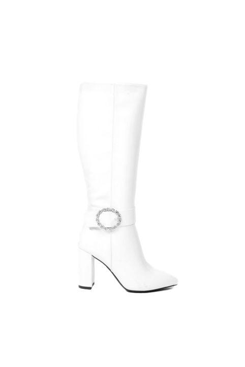 Γυναικείες λουστρίνι μπότες - Άσπρες-Ασπρο