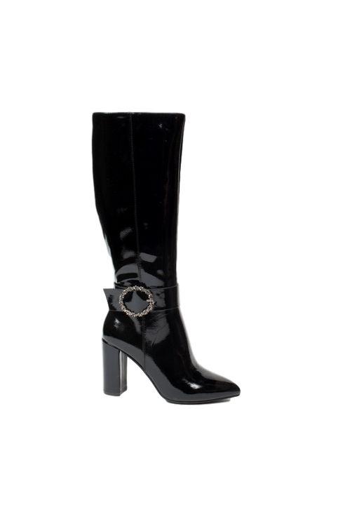 Γυναικείες λουστρίνι μπότες - Μαύρες 0781-Μαύρο