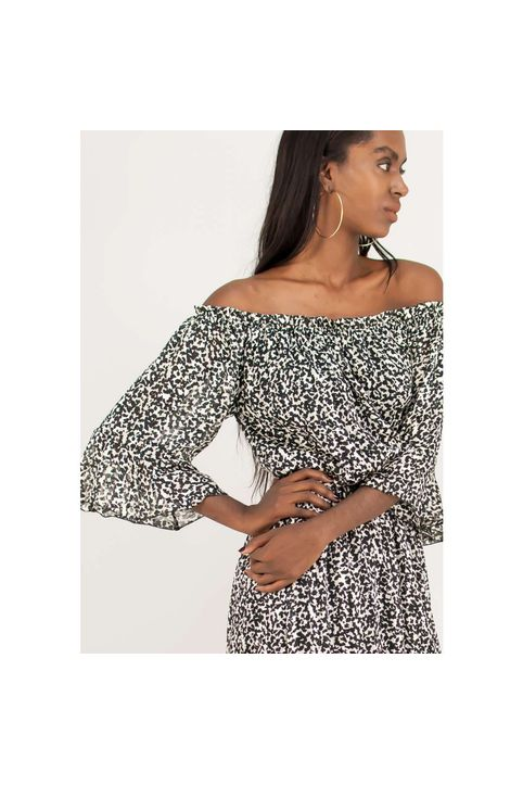 Animal print φόρεμα με λεπτομέρειες βολάν.