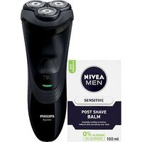 Philips AquaTouch AT899 Wet & Dry Electric Shaver And NIVEA MEN Sensitive Post Shave Balm 100ml