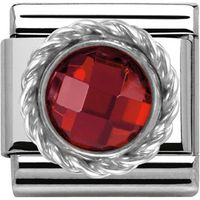 Nomination Charm Composable Classic Cubic Zirconia Round Faceted Stones Red Steel