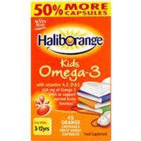 Haliborange Kids Omega 3 Chewy Orange Flavour Capsules - 90capsules - Box - Orange