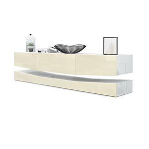Angebote für -tv board lowboard city korpus in weiß hochglanz fronten in creme hochglanz