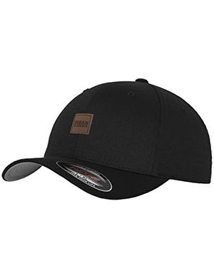 urban classics tb1029 unisex baseball leatherpatch flexfit cap schwarz black 7 one size herstellergröße lxl