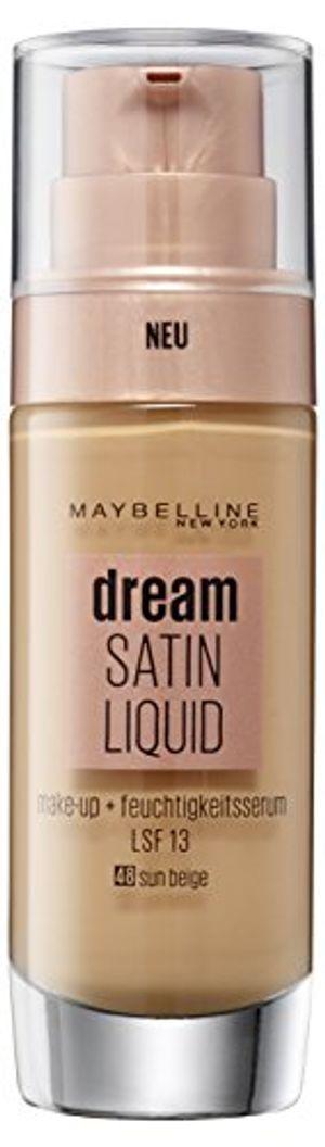 deals for - maybelline dream satin liquid make up nr 48 sun beige für einen natürlich strahlenden teint mit zart schimmerndem satin finish mit feuchtigkeitsserum und mattierendem primer 30 ml