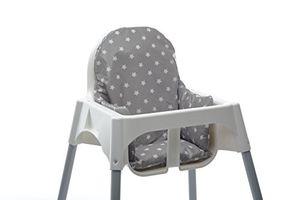ofertas para - cojin para trona ikea antilop facil de instalar y lavar después de las comidas tela impermeable estrellas grises