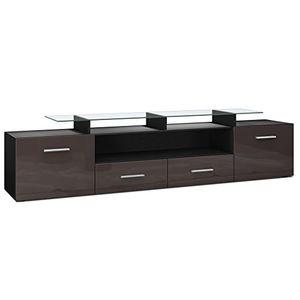 photos of TV Board Lowboard Almada V2, Korpus In Schwarz Matt / Front In Schoko Hochglanz Mit Kostenlosem Versand Kaufen   model Furniture