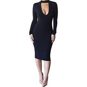 ofertas para - alaix sexy vestido sexy mujer fiesta escotado ajustado vestido invierno manga larga negro l