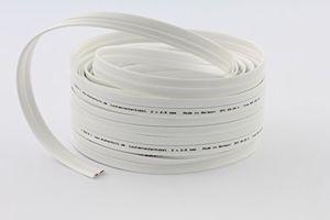 misterhifi 15 m lautsprecherkabel flach 2 x 25 mm² litze 2 x 312 x 01 mm weiß isoliert kupferkabel mit 9999 ofc made in germany boxenkabel für lautsprecher und heimkino i flachkabel