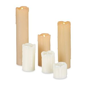 Cheap relaxdays led kerzen set 6 echtwachskerzen flammenlos elektrische kerzen flackernd batterie durchmesser 5 cm creme