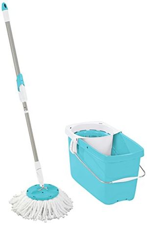 Leifheit Clean twist - Set de limpieza con mecanismo de parada integrado, 48x27x27 cm, color azul con el envío libre