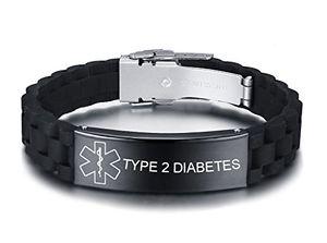 Angebote für -vnox personalisierte benutzerdefinierte medical alert edelstahl id tag schwarz silikonkautschuk einstellbar armband für männertype 2 diabetes