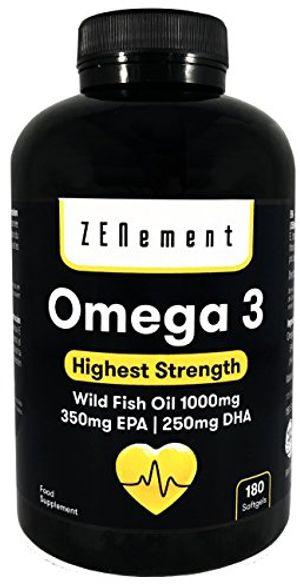 Hot Omega-3 Aceite de Pescado Salvaje | 1000 mg x 180 perlas | Máxima concentración de ácidos grasos esenciales: 35% EPA + 25% DHA por perla | Favorece la salud cardiovascular, reduce la inflamación y el dolor de las articulaciones, y mejora la función cerebral | 100% Natural, sin Gluten, sin conservantes ni colorantes, No-GMO, GMP, Fabricado en Europa | de Zenement guía del comprador