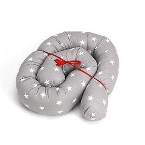 Top bettschlange 150 cm nestchenschlange für baby bettrolle 15m bettumrandung babybettschlangegrau mit weiß sternen
