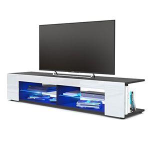 Angebote für -tv board lowboard movie korpus in schwarz matt fronten in weiß hochglanz inkl led beleuchtung in blau