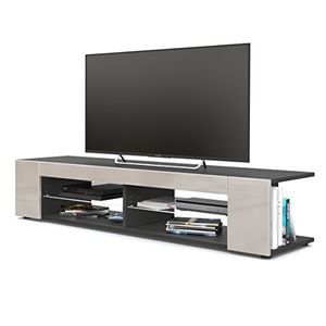 photos of TV Board Lowboard Movie, Korpus In Schwarz Matt / Fronten In Sandgrau Hochglanz Heute Deals Kaufen   model Furniture