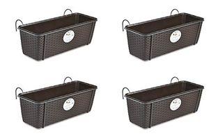 Top 4 stück pflanzkasten im rattan design mit integriertem wasserspeicher und metallrahmen für geländer aller art oder zum aufstellen maße b 50 x h 18 x t 16 cm farbe braun