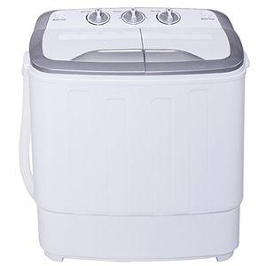 MINI lavadora portatil lavado 3.6kg y secado 2.0kg doble tubo máquina tiragomas camping lavadora (blanco+gris) Mejor compra