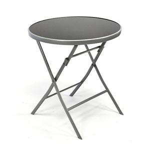 deals for - nexos bistrotisch mit glasplatte klappbar terrassentisch gartentisch glastisch schwarz