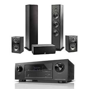 deals for - denon avr x540bt 52 kanal full 4k ultra hd av receiver 2x polk regal lautsprecher 2x polk standlautsprecher 1x polk center lautsprecher
