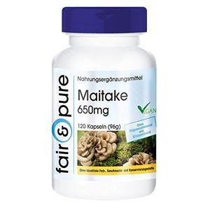 Top maitake 650mg grifola frondosa vegan und natürlich ohne magnesiumstearat 120 kapseln reich an polysacchariden glucane