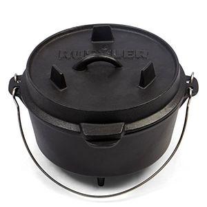 rustler dutch oven feuertopf schmortopf mit passendem deckel und edelstahl henkel aus gusseisen 36 liter mit emaille beschichtung 254 x 19 cm