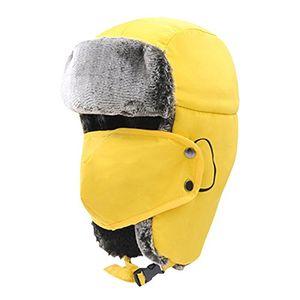 deals for - padgene fliegermütze trappermütze unisex fellmütze warme wintermütze polarmütze mit atmungsaktiven ohrenklappen in 6 farben für erwachsene gelb
