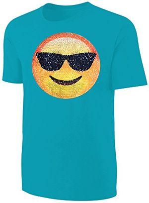 deals for - kinder t shirt wende pailletten smiley sonnenbrille streichel shirt türkis