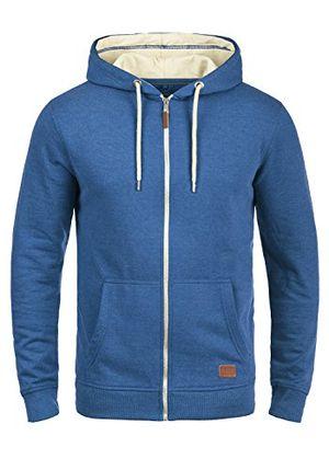 blend hulker herren sweatjacke kapuzenjacke hoodie mit kapuze reißverschluss und fleece innenseite größel farbegreat blue 74651