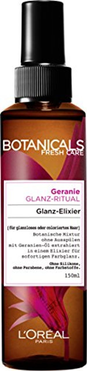 botanicals haarpflege haarglanz fresh care geranie glanz ritual special glanz elixier für glanzloses oder coloriertes haar haarpflege ohne silikon 1er pack 1 x 150 ml