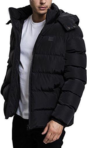 urban classics herren jacke hooded puffer jacket black l