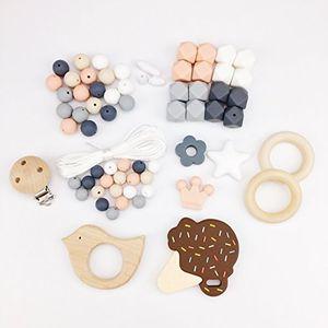ofertas para - mamimami home diy juguete de dientes de bebé collar de enfermería pulsera de silicona cuentas hexagonales anillo de dentición de madera pinzas para chupete
