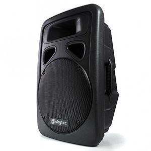 deals for - skytec 600 watt aktiv monitor dj pa box mit robusten speaker lautsprecher abs gehäuse und 30cm subwoofer ideal für outdoor kabel 2 wege system 2 band eq t 2x mikro schwarz