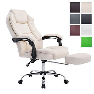 ofertas para - clp silla de oficina castle con reposabrazos y con reposapiés extensible integrado bajo el asiento silla giratoria y de altura regulable 47 57 cm respaldo reclinable peso máximo de 130 kg crema