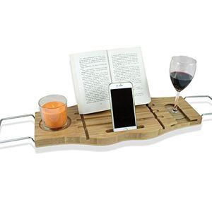 Buy ✮ BamBridge ✮ La mejor bandeja para bañera hecha de bambú 100% natural. Bandeja de baño universal con soporte para vasos, jabón, teléfono/tablet/libro. OFERTA: con mini esponja de baño Con Descuento