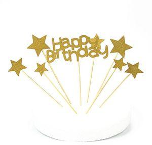 lqz tm happy birthday cake toppers stern tortenstecker kuchendeko tortendeko baby hochzeit geburtstag glitter gold tortendeko set