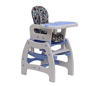 ofertas para - homcom trona para bebé 3 en 1 convertible en silla mercedora y sillamesa con cinturón de seguridad blanco y azul