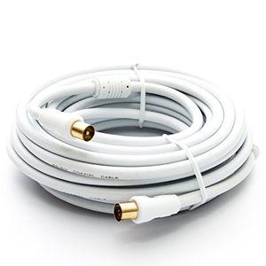30m premiumx hdtv tv antennenkabel koax stecker auf buchse vergoldet 75 ohm koaxialkabel für kabelanschluss dvb t dvb t2 mit mantelstromfilter 2x ferritkern weiß