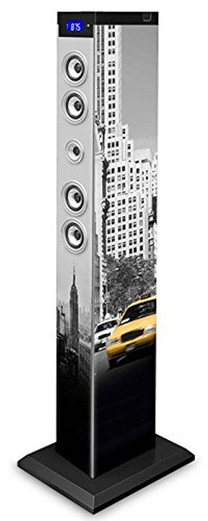 Review for bigben sound tower tw9 new york yellow cab 60 watt rms equalizer leds bluetooth aux in sd ukw